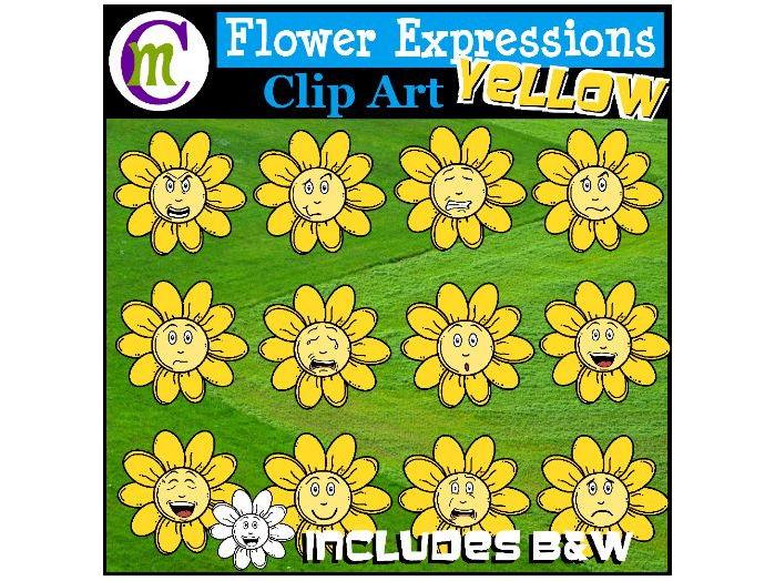 Flower Emotions Clipart | Yellow Flowers Clip Art