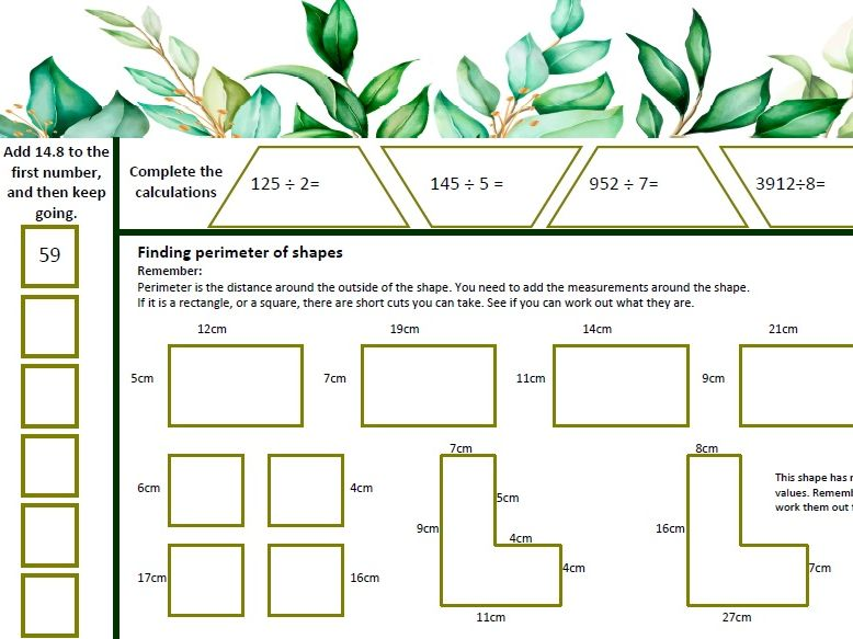 Area and Perimeter Home learning worksheets
