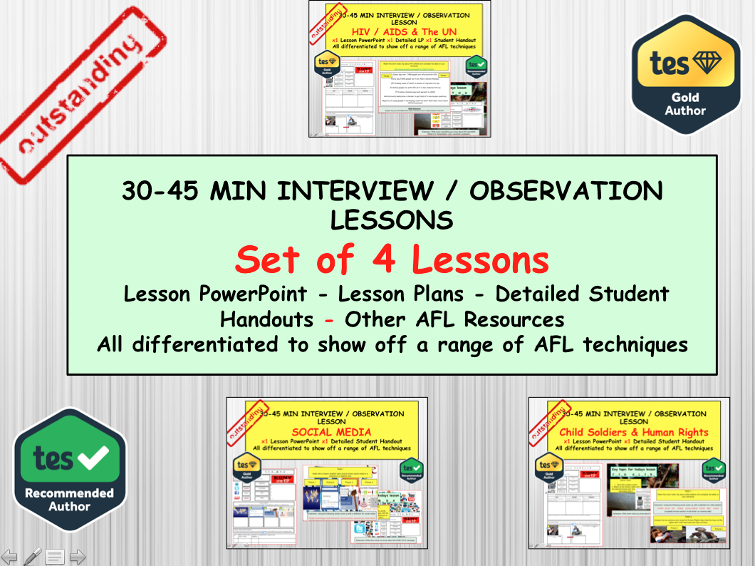 Set of 4 Interview and Observation lessons for a Citizenship or PSHE teacher