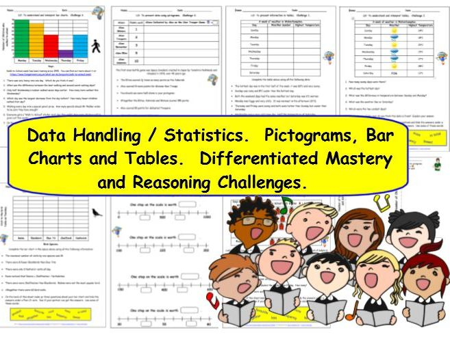 Statistics Data Handling Y3.  Pictograms, Bar Charts & Tables Differentiated Mastery Challenges.