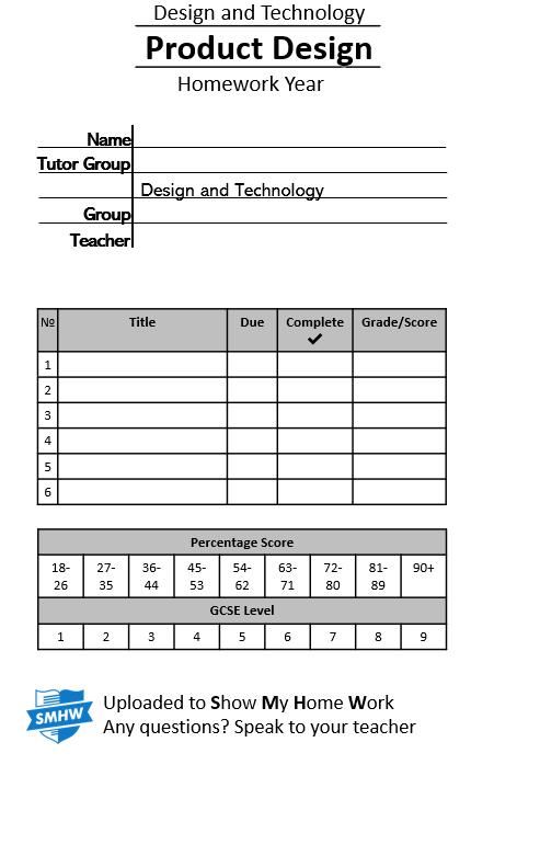 KS3 Design Technology Homework BOOKLETS