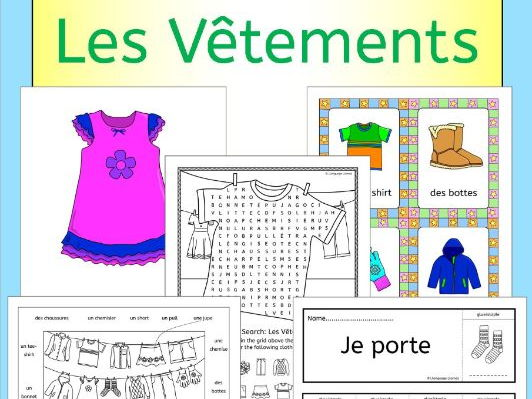 French clothing - Les Vetements - activities, games and puzzles