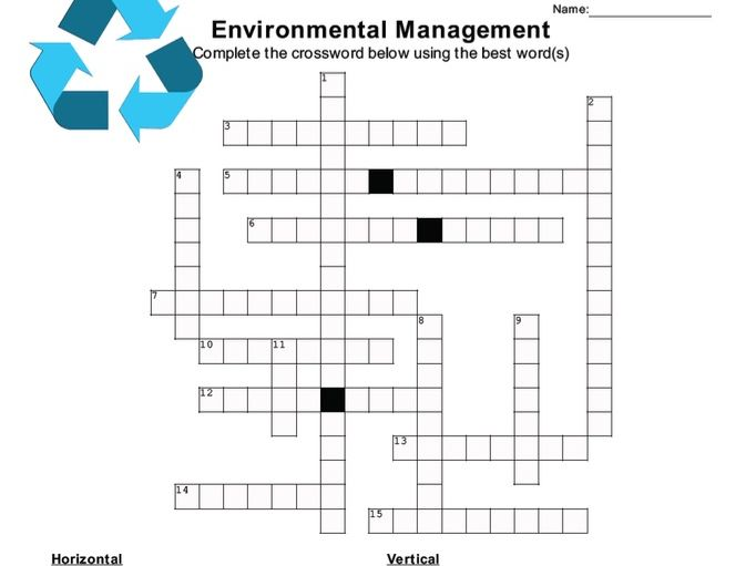 ENVIRONMENTAL MANAGEMENT Crossword Puzzle w/ answer key (version 1) (Cambridge A-level)