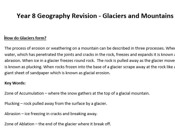 Glacier Revision Notes - KS3