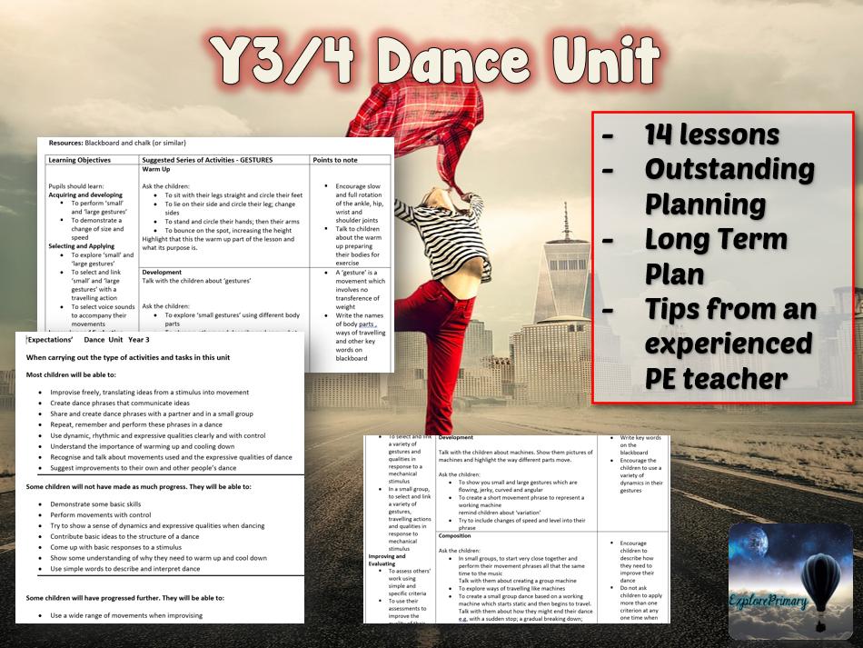 Y3/4 PE Dance Unit LKS2 - 14 lessons