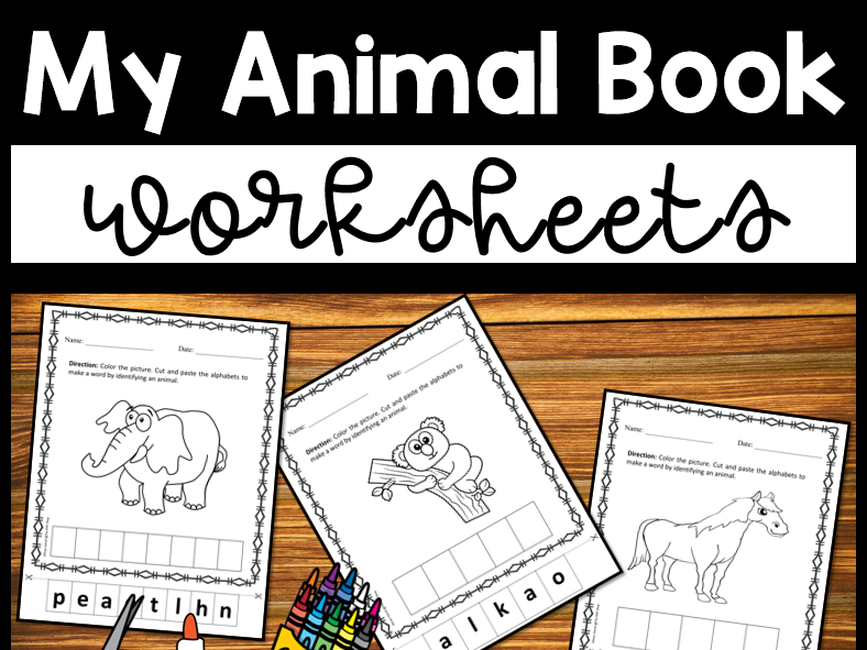 Animal Worksheets Coloring Cut and Paste Activity