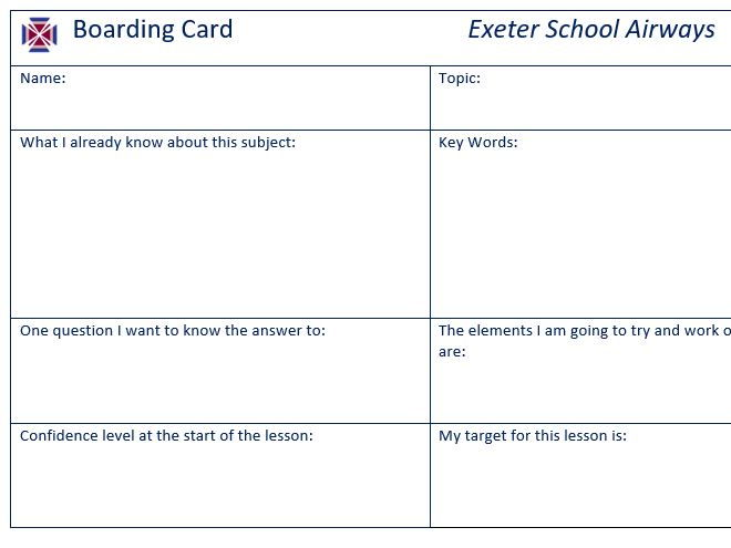 Boarding Card and Departure Cards (Starter and Plenary of a lesson)