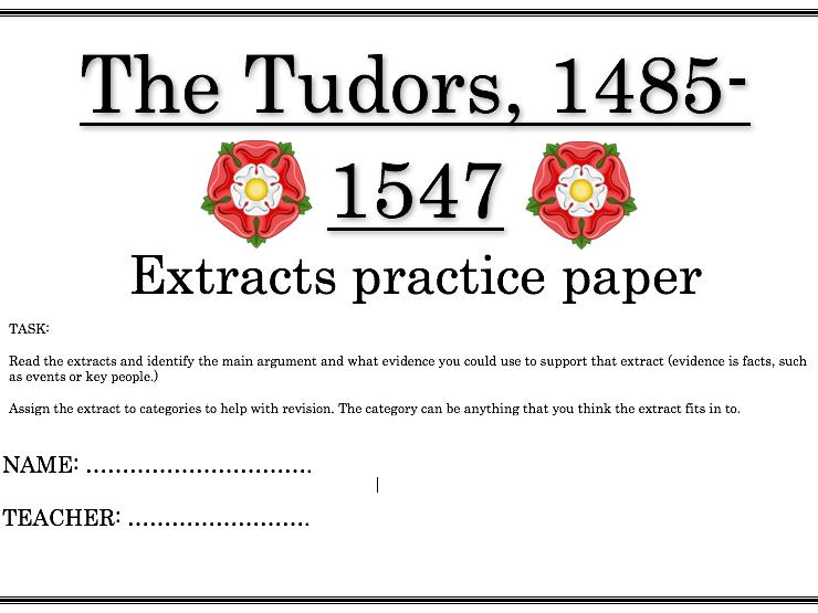The Tudors revision extract guide