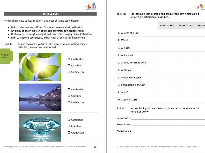 LIGHT & SOUND - science workbooklet