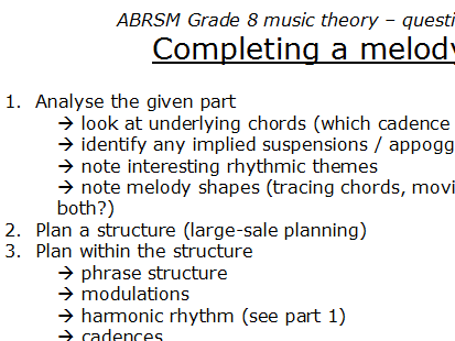 Grade 8 theory 'how-to':  complete a melody from a given opening (question 3)