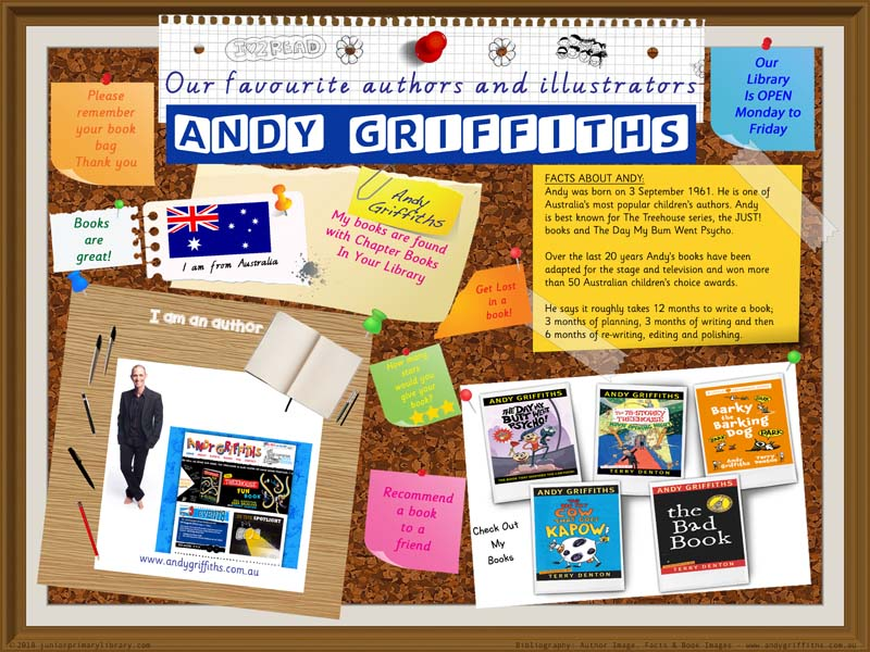 Library Poster - Andy Griffiths Australian Author/Illustrator of Books