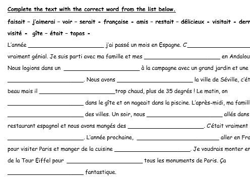 GCSE French revision booklet my holidays