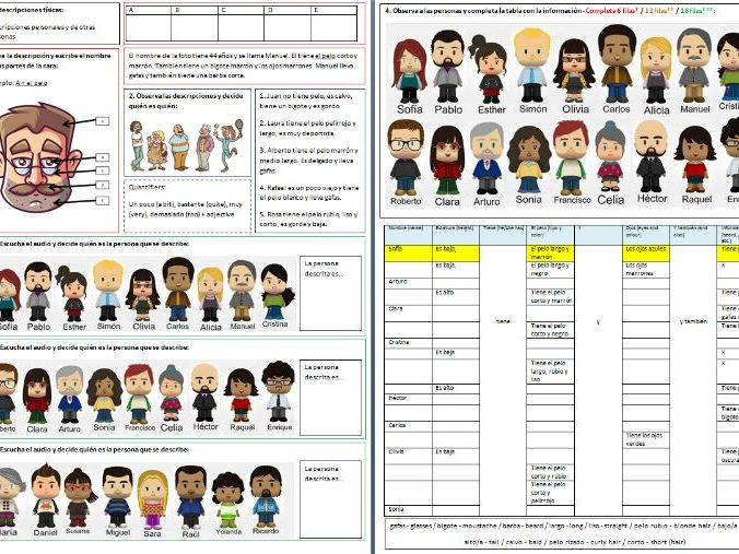 Spanish - Physical description (worksheet)