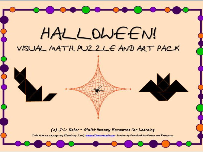 Halloween! Visual Maths, Puzzle and Art Pack