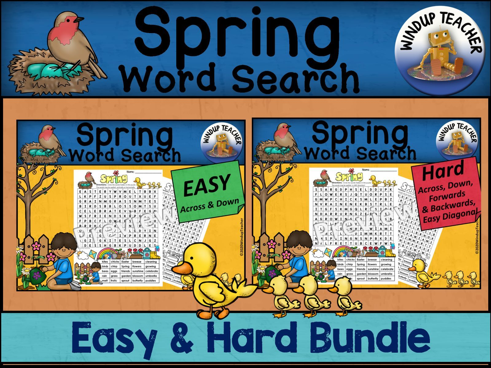 Spring Word Search BUNDLE - Easy and Hard Bundle