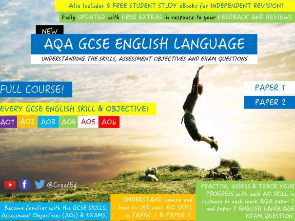 New GCSE ENGLISH Language, Paper 1, Paper 2, Reading and Writing: FULL COURSE: 8 WEEKS & 5 x ebooks