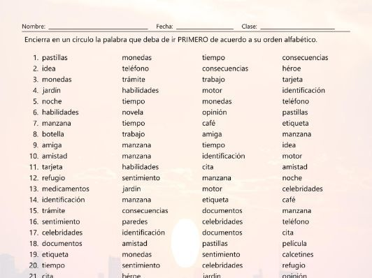 Common Nouns 1 Alphabetical Order II Spanish Worksheet