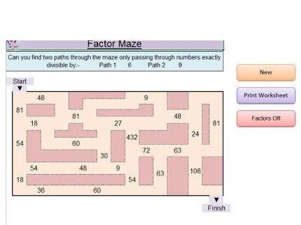 Facor Maze (Worksheet) (Software)