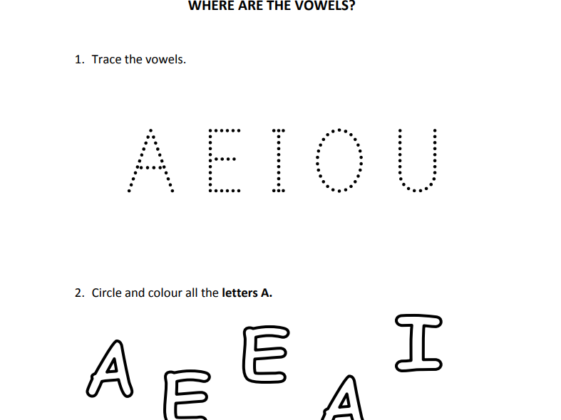 Vowels for Nursery and Reception Students