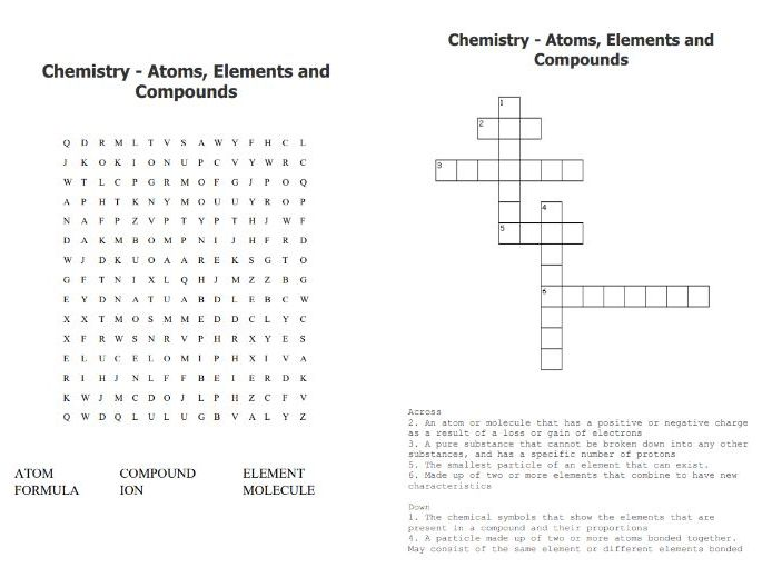 Atoms Elements Compounds Wordsearch & Crossword - Chemistry Starter Activity - GCSE and KS3 and KS4
