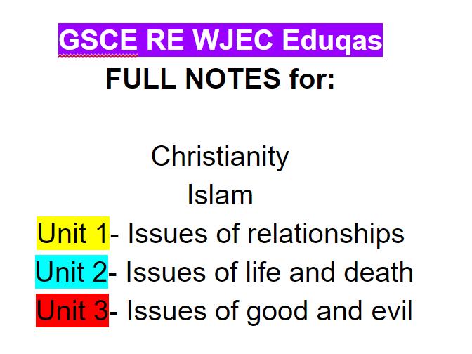 WJEC EDUQAS GSCE RE revision notes