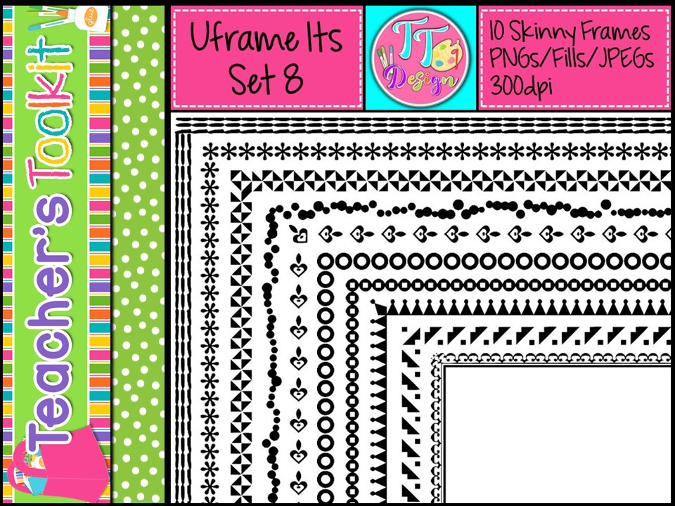'UFrame Its' Set 8 Skinny Worksheet Frames Borders Clip Art CU OK