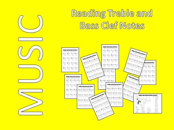 Reading Treble and Bass Clef Notes - 12 Printable and Digital Worksheets