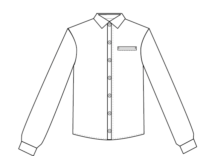 How to draw fashion flats - completing the details on the shirt