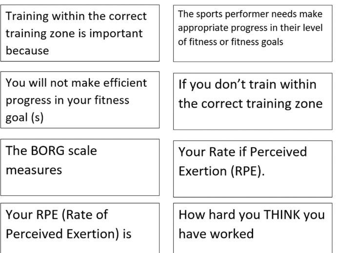 BTEC SPORT UNIT 1 - exercise intensity match up task