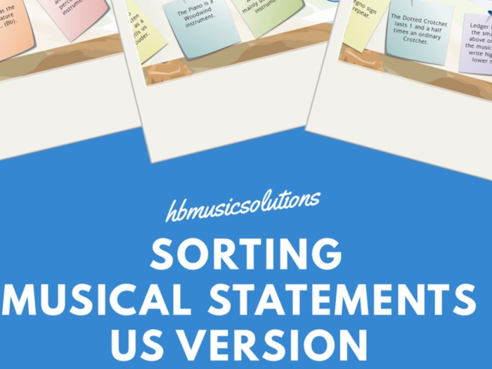 Sorting The Musical Statements US Version Interactive Game