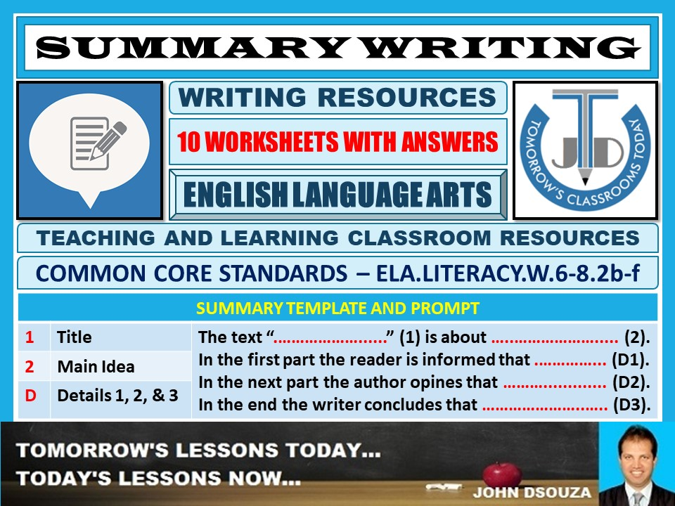 SUMMARY WRITING - 10 WORKSHEETS WITH ANSWERS