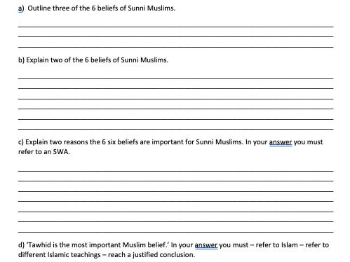 GCSE RS Exam practice Edexcel Muslim beliefs