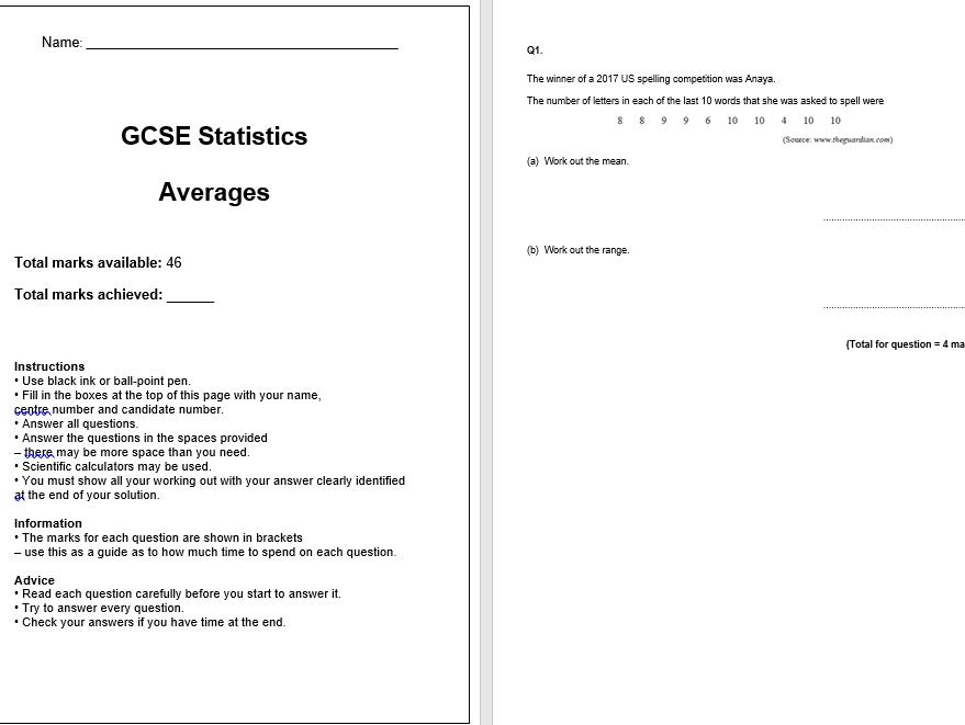 Averages Exam Questions (GCSE Statistics)