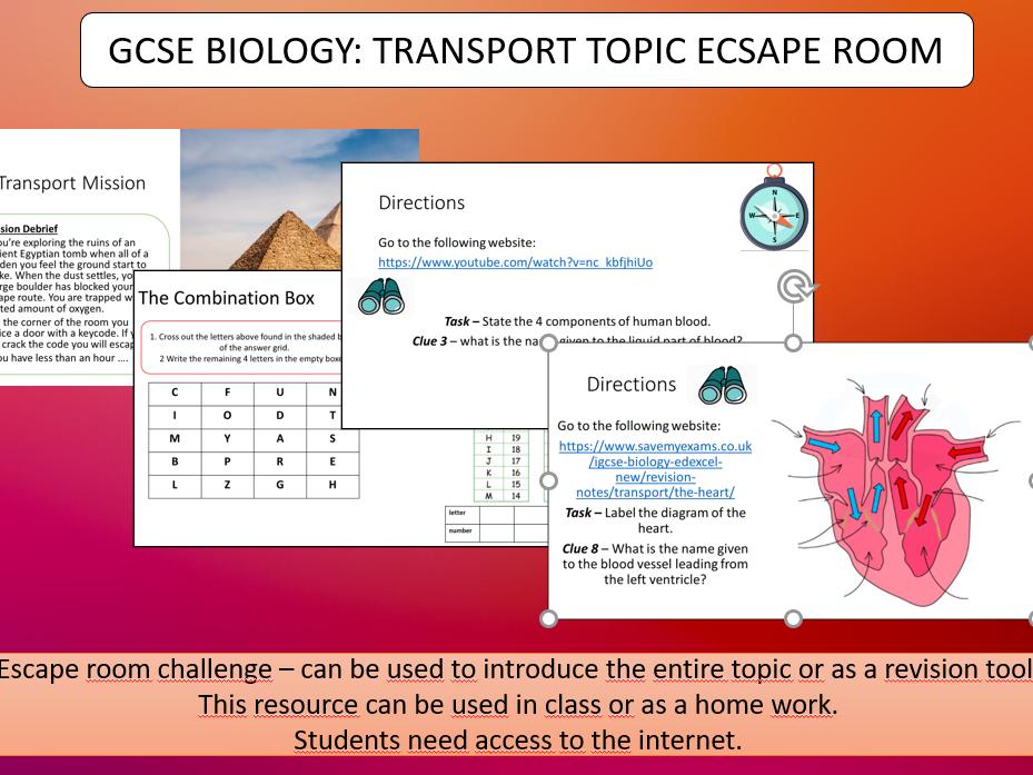 GCSE BIOLOGY HUMAN TRANSPORT SYSTEM ESCAPE ROOM