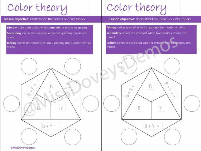Color theory worksheets USA version
