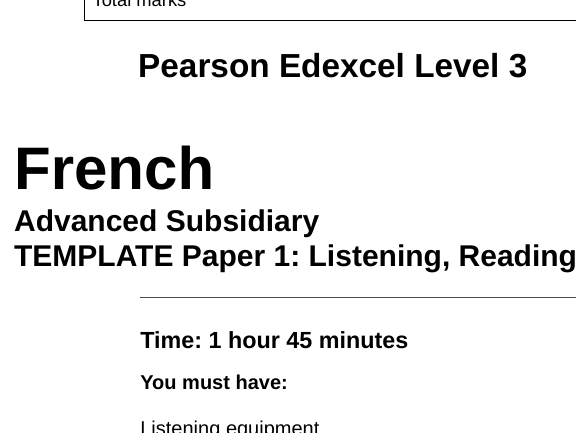 Edexcel French AS & A Level Paper 1 Template with M/S template