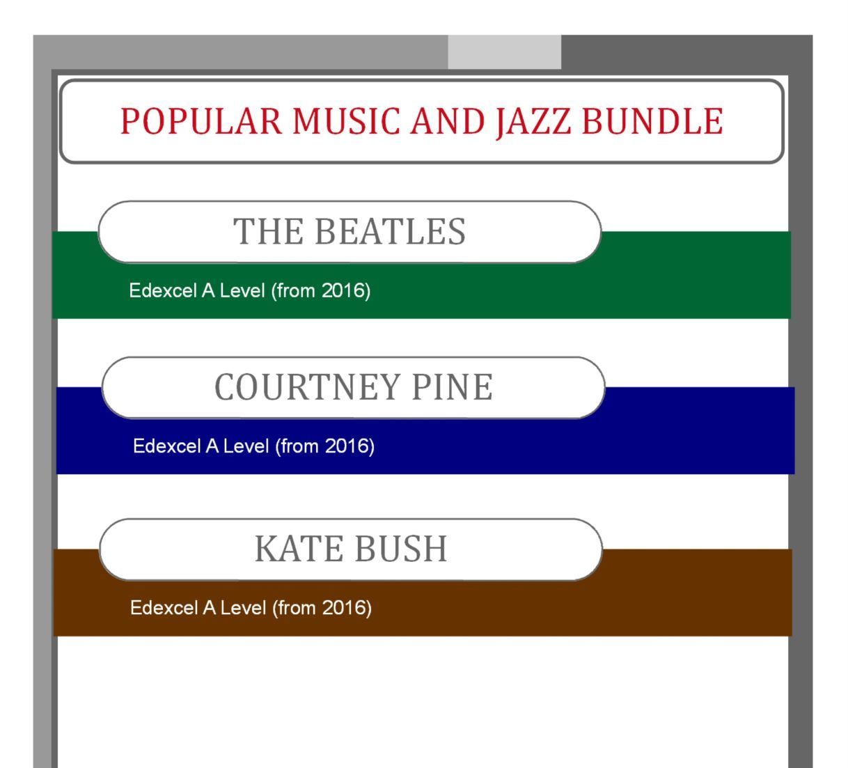 Area of Study Four: Pop Music and Jazz Bundle for Edexcel Music A Level (from 2016)