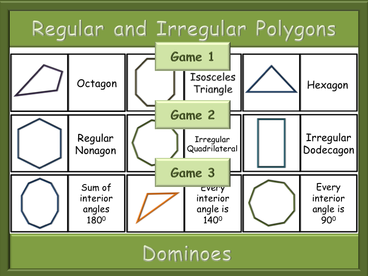 Three (3) Polygons Dominoes games