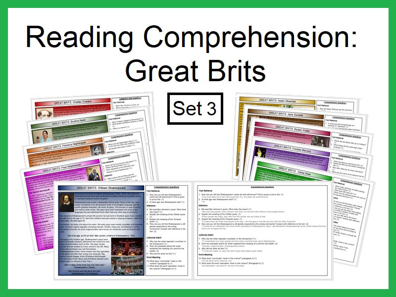 Reading Comprehension:Great Brits (Set3)