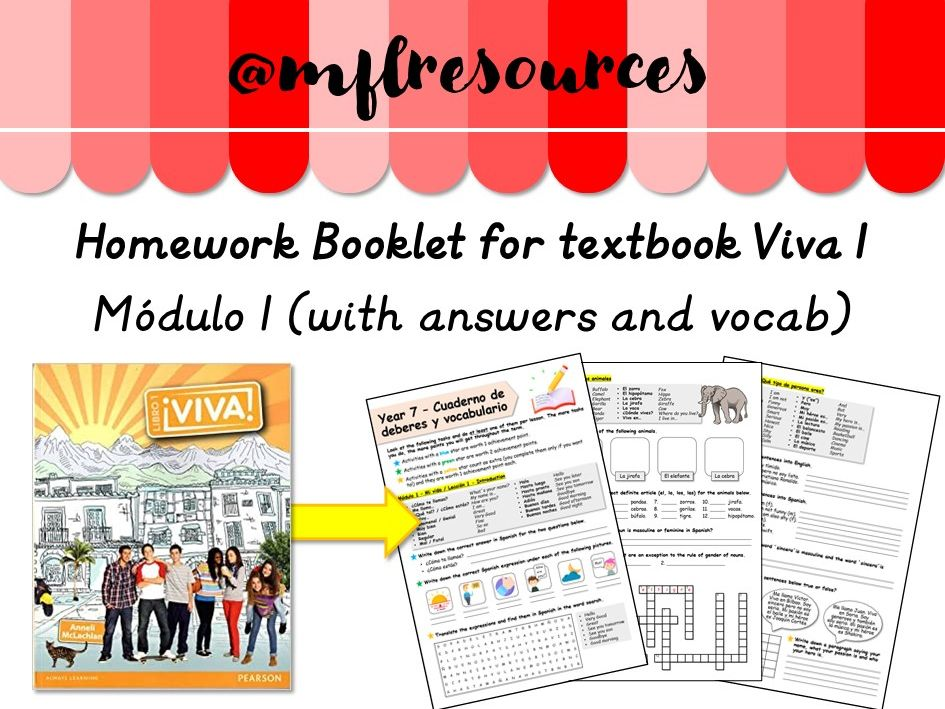 KS3 Spanish - Homework booklet for Viva 1  - Module 1 - (with answers)
