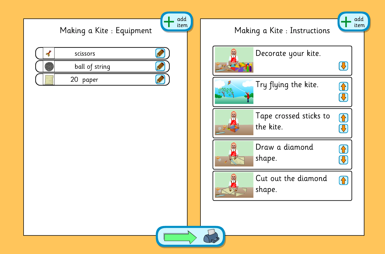 Planning Template Making A Kite Ks1 Literacy By Teselements