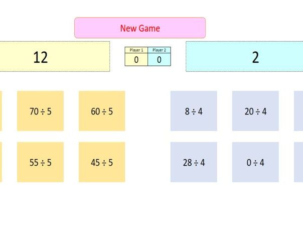 Interactive Division Game for Whiteboard Use