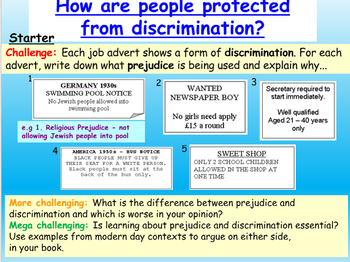 Examples of prejudice & discrimination in society today (article.