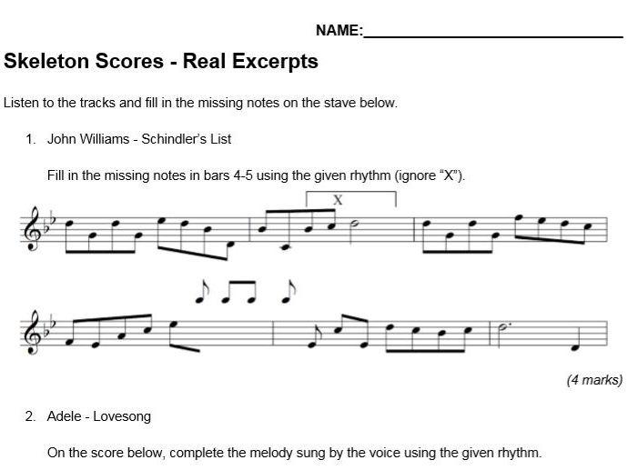 Skeleton Scores - Music GCSE Melody Notation - Real Tracks