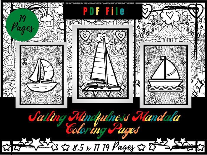 Sailing Mindfulness Mandala Colouring Pages, Wingsails Printable Coloring Sheets