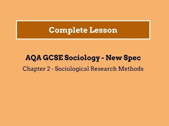 Lesson 1 - Sociological Research Methods