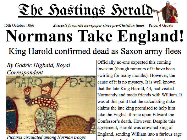 Norman Invasion/Battle of Hastings Newspaper Article Y3/4 Example Text