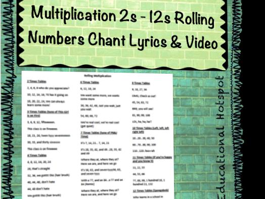 Multiplication 2s - 12s Rolling Numbers Chant Lyrics & Video