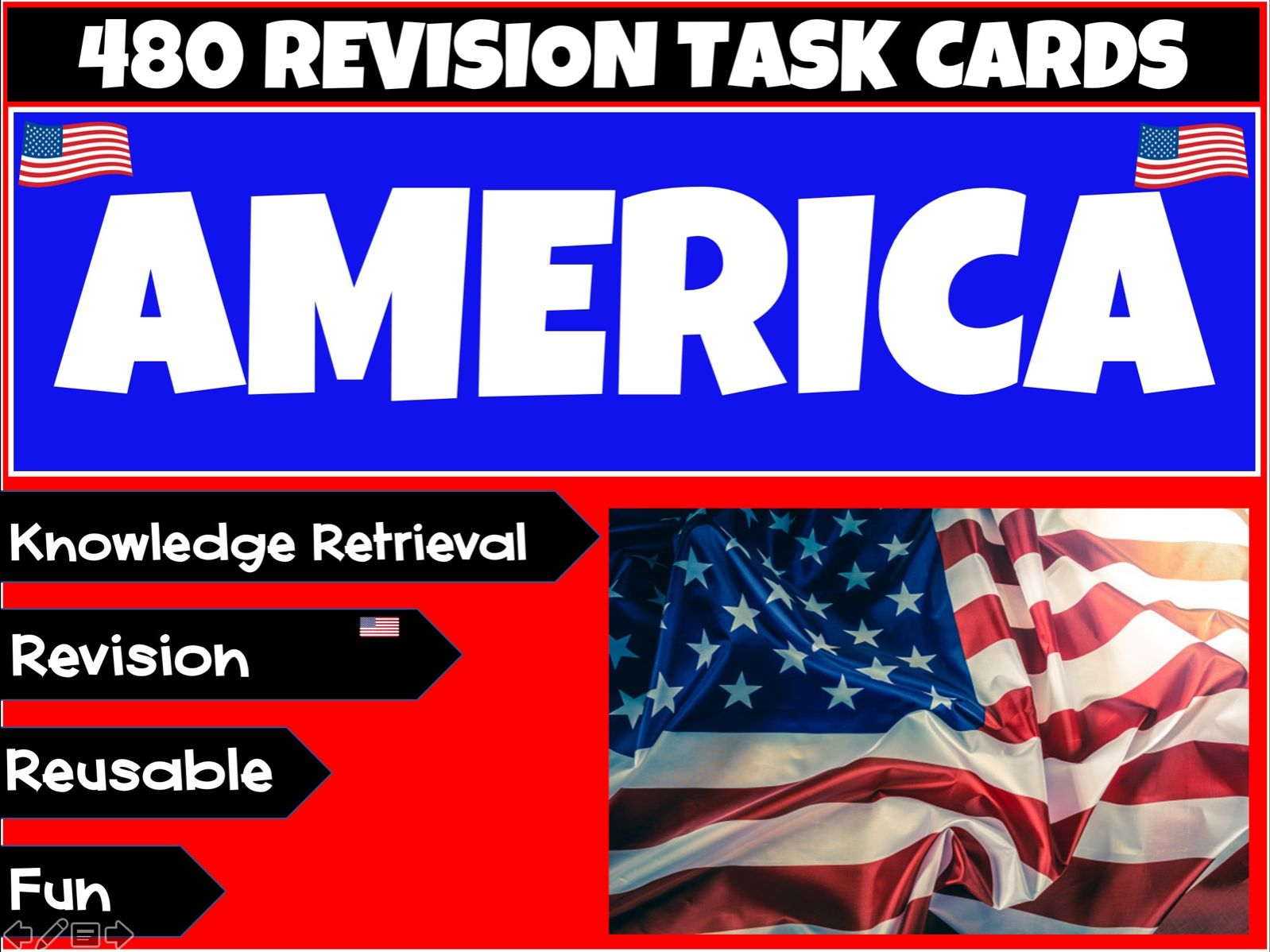 480 American Themed Task Cards