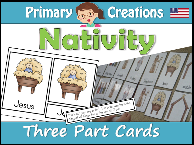 Christmas Nativity Three Part Cards (Montessori Nomenclature Cards) USA Edition